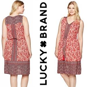 Lucky Brand Border Floral Red White Pockets 3X